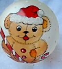 Vintage Glass Ornament - HAND PAINTED TEDDY BEAR w/GLITTER SNOW - ITALY
