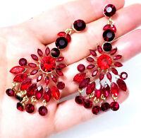 Chandelier Earrings Rhinestone Austrian Crystal 3 in Red