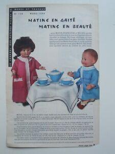 PAGE POUPEES MODES ET TRAVAUX - PETITCOLLIN / MARS 1964 avec mini patrons