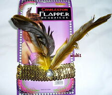 1920's Flapper Girls Sequined Headband With Feather and JEWEL Gold