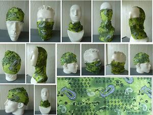 1x 'Green Paisley' Head/Face/Mask/Neck Multi-wear tube Bandana/Durag, Scarf.