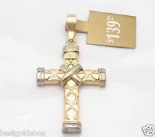 "BOLD 2"" Technibond Cross Pendant 14K Yellow White Gold Clad Clad Silver"