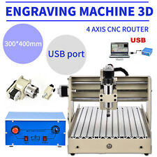 USB 4 Axis 3040 Engraver CNC Router Engraving 3D Carving Drilling Cutter Desktop