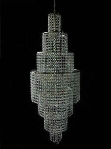 Large Designer chandelier with real crystals L.140 cm. Illustration mat silver.