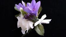 Beautiful Wedding Corsage/Buttonhole Ivory Rose/Purple Freesia/Trachelium Ribbon