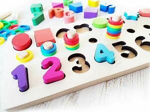 Shapes And Color Sorter Puzzle Stacker Wooden Toy 3 On 1 Board w/numbers &colors