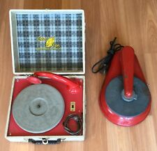 OLD VTG MARX PETER PAN RECORD PLAYER PHONOGRAPH PARTS REPAIR CASE RED LOT OF 2