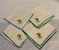Vintage Scottie Dog Embroidered Linen Napkins, Green Trim Set of 4