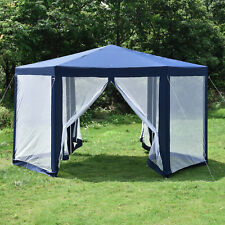 Hexagonal Patio Gazebo Outdoor Canopy Party Tent Event With Mosquito Net  Blue