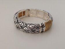 "MONET Silver & Gold tone Stretch Bangle Bracelet - 7"" - 1990s - New Old Stock"