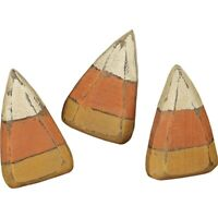 WOODEN CANDY CORN SET of 3 Primitive Grungy Shelf Sitters Halloween Crafts Fall