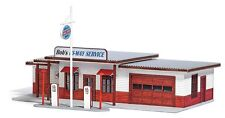 HO 1/87 scale Busch 1950's style GAS STATION : LASER CUT WOOD  KIT  # 9723