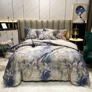 1000TC Egyptian Cotton Soft Bedding Set Leaves Marble Art Duvet Cover Bed Sheet