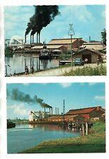 2 Postcards showing industrial scenes in Suriname
