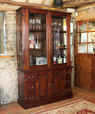 La Roque Dark Wood Glass Display Cabinet Large Solid Mahogany