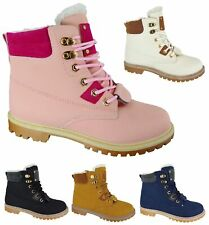 LADIES WOMENS NEW WARM WINTER FUR LINED ANKLE GRIP SOLE COMBAT TRAINER BOOTS SZ