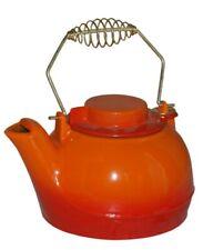 Fully Functional Enamel Cast Iron Kettle/Tea Pot In Orange For Stoves