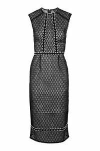 TOPSHOP Black Fishnet Fabric w Braid Trim Midi Dress Size 12 RRP$209