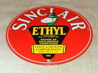 "VINTAGE 1952 SINCLAIR ETHYL GASOLINE + DINOSAUR 11 3/4"" PORCELAIN METAL OIL SIGN"