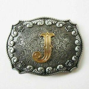 "Initial Letter ""J"" Cowboy Rodeo Western Metal Belt Buckle"