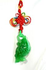 Green Jade Fish Pendant Necklace Good Luck Charm Jadeite Handmade Amulet Hanger