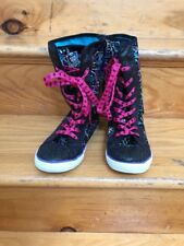 Monster High Girls Black and Pink Sparkle Lace Up With Zipper High Boots 5M