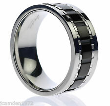 Black Center Stripe Spinner Worry Men's Ring Stainless Steel Size 9