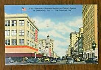 St. Petersburg, FL, vintage linen postcard, Business Section Downtown, OLD CARS
