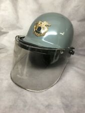 Vintage 1960s Police Riot Helmet Size Medium With Paulson Face Shield Ff 6