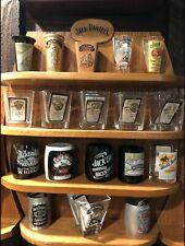 Jack Daniels 2002 Legends Shot Glass Display Shelf & 18 Shot Glasses