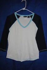 Women's SB ACTIVE White Blue V-Neck Knit Top Size S