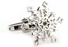 Snowflake Cufflinks Silver Cut Out Design Wedding Fancy Gift Box Free Ship USA