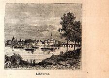 Stampa antica LIBOURNE piccola veduta Gironde 1898 Ancien gravure Old print