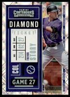 2020 Contenders Diamond Ticket #37 Trevor Story 1/15 - Colorado Rockies