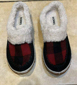 Sorel Out N About Slide Slip On Slippers Red Holiday Plaid Leather Shoes Women 7