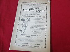 WORKSOP Cricket & Sports Amateur ATHLETICS  Programme  07/08/39  1930's