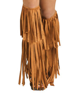Hippie Boot Covers Woodstock Hippy Fancy Dress Fringed Adults 1960s