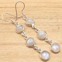 925 Silver Plated MOONSTONE & Other Gemstones Variation 3 Gem LONG Earrings