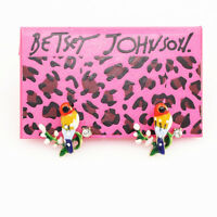 Betsey Johnson Enamel Crystal Little Bird Tree Branch Charm Ear Stud Earrings