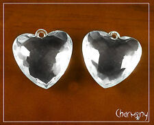 Acrylic Faceted Ice Hearts ~PACK of 2~ huge 34mm clear pendant frozen inspired