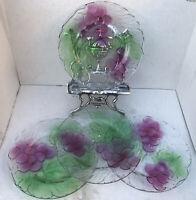 """Set (4) Vintage Color Glass Embossed Dinner Plates Grapes KIG Indonesia 10.25"""""""