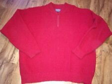 Vintage Pendleton Men's Wool RED 1/4 Zip SWEATER SIZE LARGE MADE IN THE USA