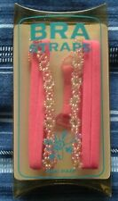 A PAIR OF THIN HOT PINK BEADED FASHION BRA STRAPS (F102HP-B1) - SEALED PACKAGING