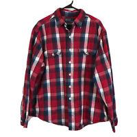 Polo Ralph Lauren Cotton Flannel Button Up Shirt Mens 2XL XXL Red Blue Plaid LS