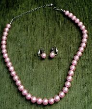 """Vintage Faux Pink Pearl Bead Necklace And Clip Earring .5""""w Silver Tone"""