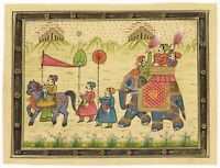 Handmade Indian Miniature Painting Of Royal King Procession Art On Silk Cloth