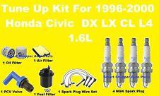 1996-2000 Honda Civic LX DX CX Tune Up Kit: Spark Plug Wire Set, Air Oil Filter