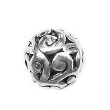 Antique Silver Plated Alloy 10mm Flower Floral Filigree Ball Beads 2mm Hole Q10