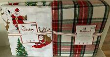 Pottery Barn Kids Morgan plaid flannel TWIN duvet SHAM merry Santa SHEET set