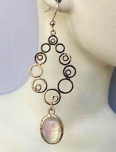 Modernist Earrings Abstract Coils W/ Opalite Handmade Jewelry